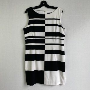 TAHARI Black & White Sheath Dress